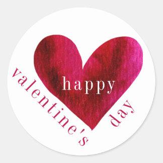 Sticker Rond Coeur d'aquarelle de la heureuse Sainte-Valentin |