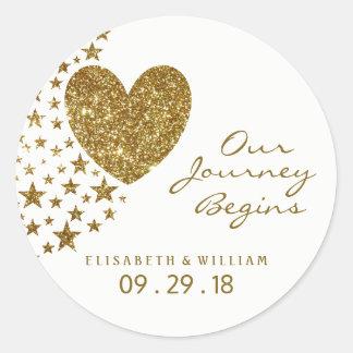 Sticker Rond Coeur de scintillement d'or et épouser d'étoiles