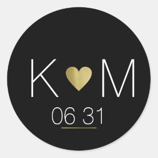 Sticker Rond Coeur d'or d'amour avec des noms de couples sur le