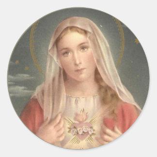 Sticker Rond Coeur douleureux et impeccable de Vierge Marie