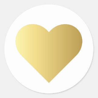 Sticker Rond Coeur élégant d'or de Faux