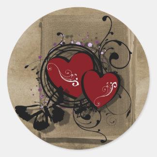 Sticker Rond coeur gothique de tatouage du jour de valentine