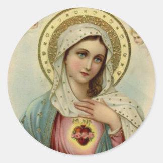 Sticker Rond Coeur impeccable de Vierge Marie