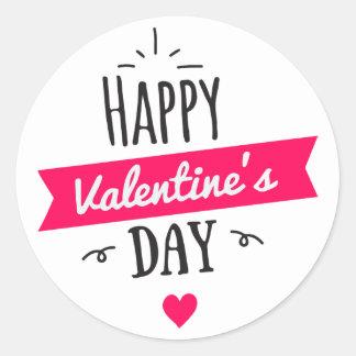 Sticker Rond Coeur moderne de blanc de rose de heureuse
