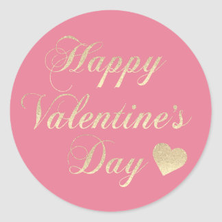 Sticker Rond Coeur rose de parties scintillantes d'or de