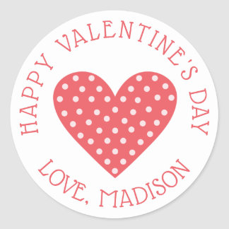Sticker Rond Coeur rose de polka de la heureuse Sainte-Valentin
