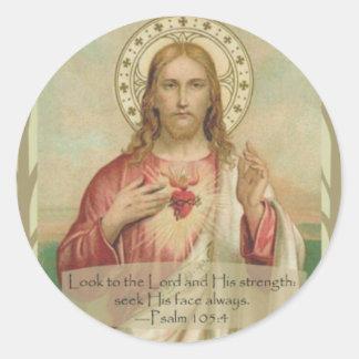 Sticker Rond Coeur sacré de citation d'écriture sainte de Jésus