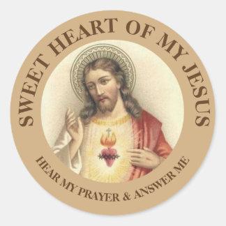 Sticker Rond Coeur sacré de cru de Jésus
