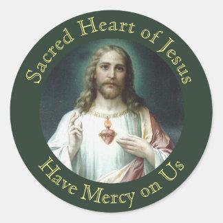 Sticker Rond Coeur sacré de prière de Jésus