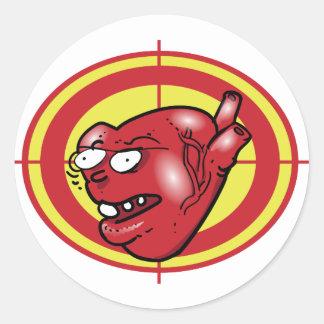 Sticker Rond coeur sur la bande dessinée drôle de cible