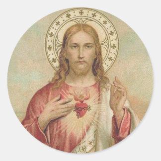 Sticker Rond Coeur vintage des épines de Jésus bénissant des