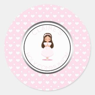 Sticker Rond Coeurs de rose de faveur de fille de sainte