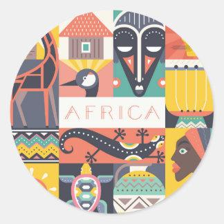 Sticker Rond Collage symbolique africain d'art