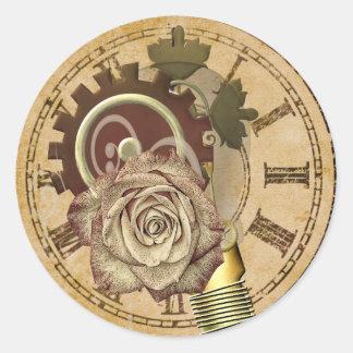 Sticker Rond Collage vintage d'horloge