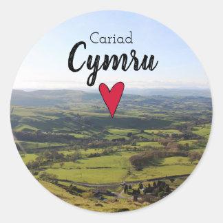 Sticker Rond Collines de Gallois de paysage du Pays de Galles