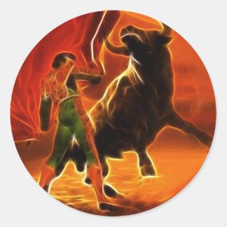 Sticker Rond Combattant et EL Toro de Taureau