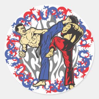 Sticker Rond Combattants de dragon