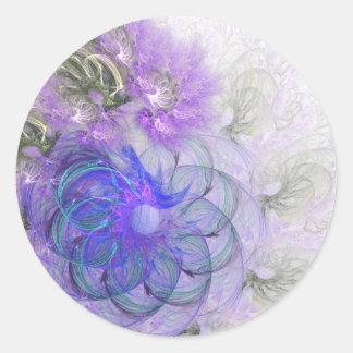 Sticker Rond Conception abstraite de dentelle pourpre et bleue