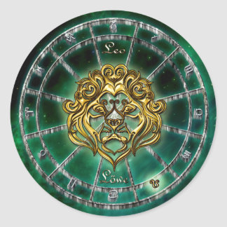 Sticker Rond Conception d'astrologie de zodiaque de Lion