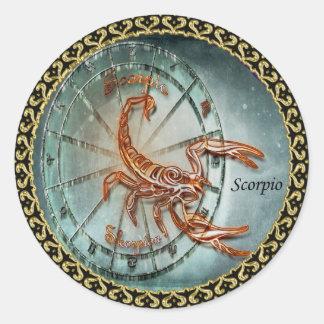 Sticker Rond Conception d'astrologie de zodiaque de Scorpion