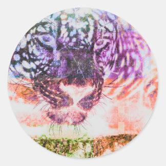 Sticker Rond Conception de chat de Jaguar d'arc-en-ciel