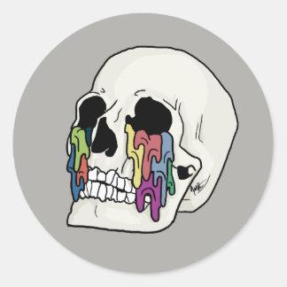 Sticker Rond Conception de crâne intitulée par individu
