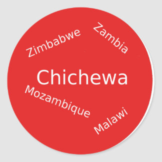 Sticker Rond Conception de langue de Chichewa