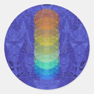 Sticker Rond Conception de tapisserie de Chakra de yoga