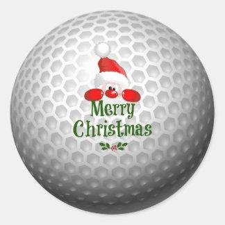 Sticker Rond Conception de vacances de boule de golf, Joyeux