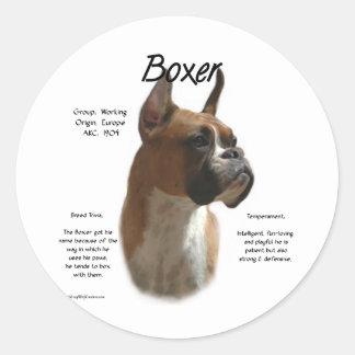 Sticker Rond Conception d'histoire de boxeur (faon)