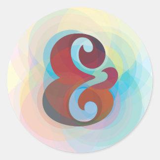 Sticker Rond Conception originale d'arc-en-ciel d'esperluète