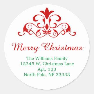 Sticker Rond Conception rouge de remous de vert élégant de Noël