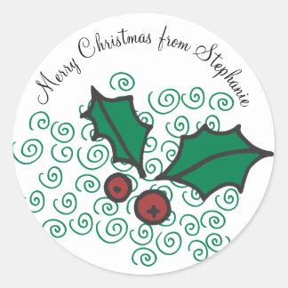 Sticker Rond Conception rouge et verte moderne de houx de Noël