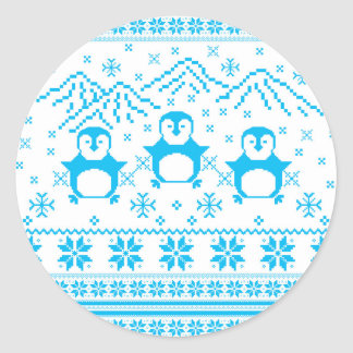 Sticker Rond Conception scandinave bleue mignonne de vacances