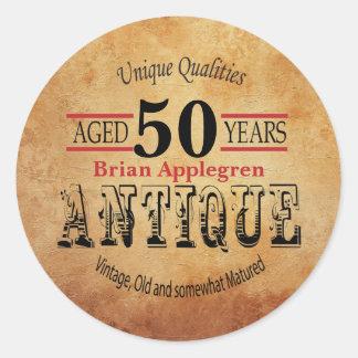 Sticker Rond Conception vieilli, antique et cinquantième