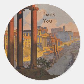 Sticker Rond Conception vintage de voyage avec tous nos