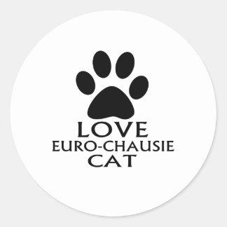STICKER ROND CONCEPTIONS DE CAT DE L'AMOUR EURO-CHAUSIE