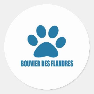STICKER ROND CONCEPTIONS DE CHIEN DE DES FLANDRES DE BOUVIER