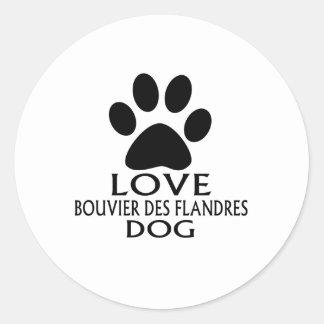 STICKER ROND CONCEPTIONS DE CHIEN DE DES FLANDRES DE L'AMOUR