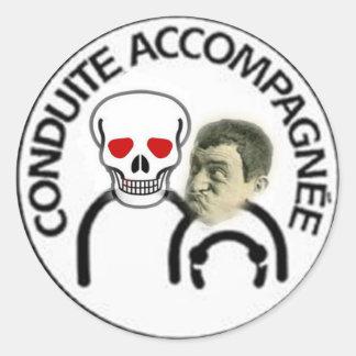 Sticker Rond conduite accompagnée tete de mort