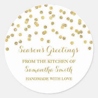 Sticker Rond Confettis d'autocollant de cuisson de Noël d'or