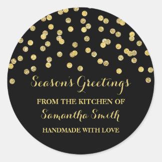 Sticker Rond Confettis noirs d'autocollant de cuisson de Noël