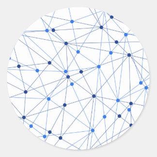 Sticker Rond Connexion réseau bleue sur l'arrière - plan blanc