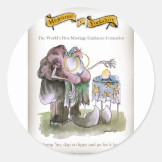 Sticker Rond Conseils de mariage de Yorkshire d'amour