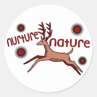 Sticker Rond Consolidez les cerfs communs de nature
