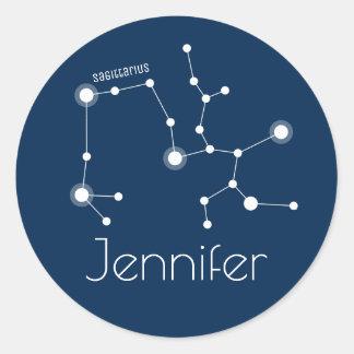 Sticker Rond Constellation personnalisée de zodiaque de