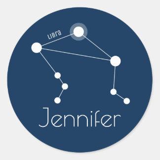 Sticker Rond Constellation personnalisée de zodiaque de Balance