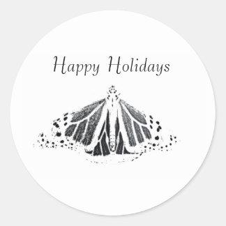 Sticker Rond Contour de monarque, bonnes fêtes