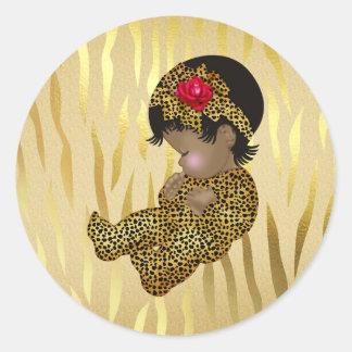 Sticker Rond Copie de zèbre d'étincelle d'or avec le bébé de
