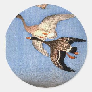 Sticker Rond Copie vintage des oies de vol